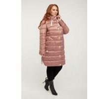 Пудровое стеганное пальто с накладными карманами РК11S15-857