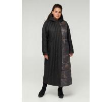 Черное длинное стеганное пальто РК11S1-893
