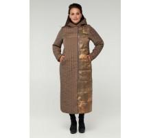 Коричневое длинное пальто на молнии РК11S2-893