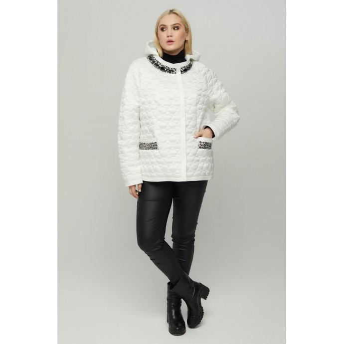Белая короткая осенняя куртка РК11S21-846