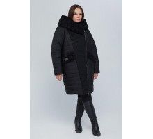 Пальто двубортное с опушкой черное РК11S44-902