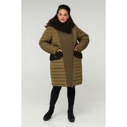 Пальто двубортное с опушкой РК11S42-902
