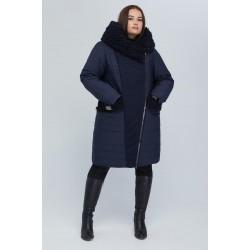 Пальто двубортное с опушкой синее РК11S43-902