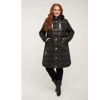 Черное стеганное пальто с белыми кнопками РК11S14-857
