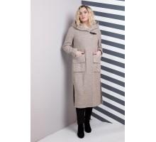 Пальто женское миди беж РК11106-628