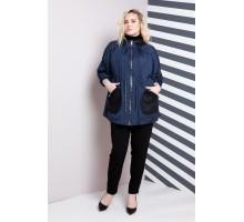 Синяя куртка женская с черными карманами  РК1170-583