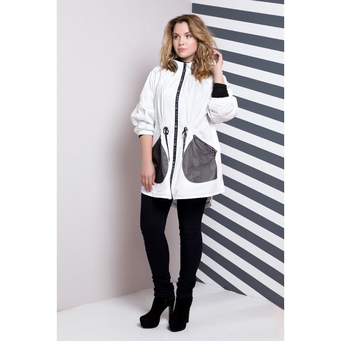 Белая куртка женская с черными карманами  РК1171-583