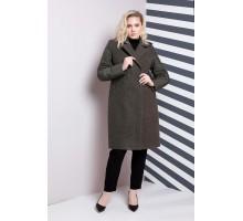 Пальто женское большого размера зеленое РК1185-619