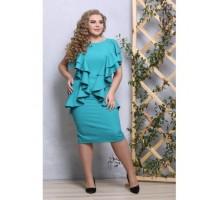 Платье Изгиб бирюза с рюшами РОЗS538
