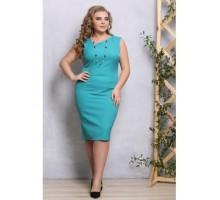 Платье Алегро из костюмки бирюза РОЗS539