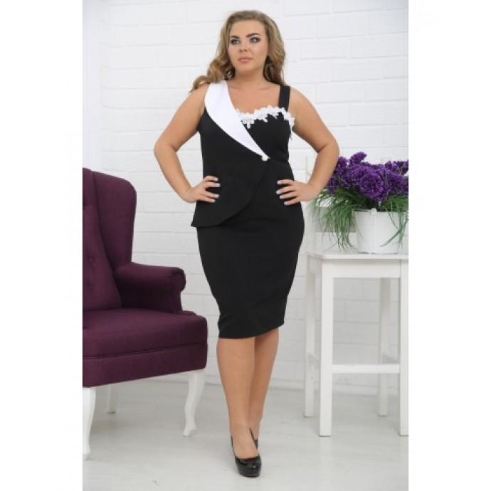 Платье Бизнес-Леди черное РОЗS444