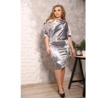 Платье Гармония серый велюр S39